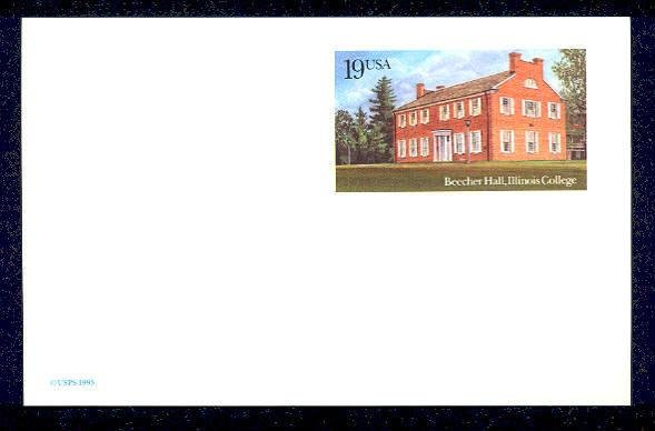 Scott # UX172 19¢ Beecher Hall, Illinois � 1993 Postcard Mint denomination: 19¢