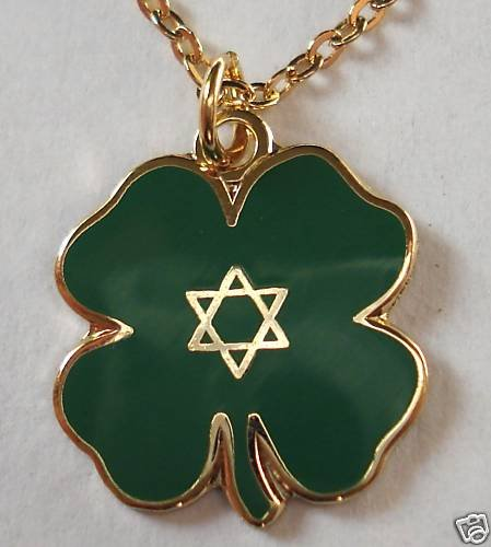 JEWISH LUCKY CLOVER Star of David Jew PENDANT NECKLACE