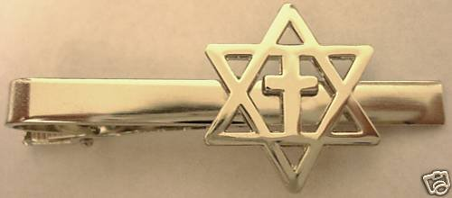 MESSIANIC CROSS Christians for Israel TIE BAR CLIP