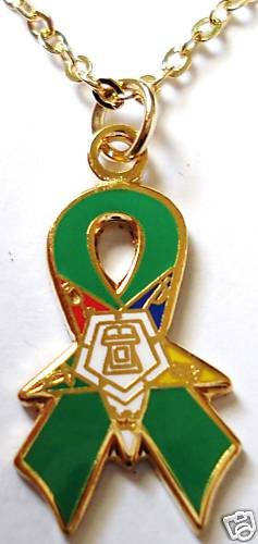 Order of the Eastern Star OES Green Ribbon Pendant