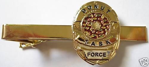 DONUT TASK FORCE Police SWAT Sheriff CIA Badge TIE BAR