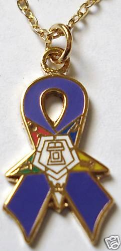 Order of the Eastern Star OES Blue Ribbon Pendant Chain