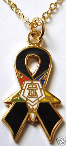 Order of the Eastern Star OES Black Ribbon Pendant