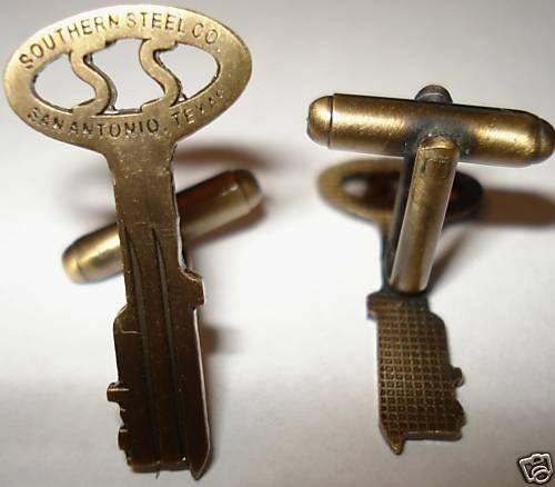 SOUTHERN STEEL CO KEY Folger Jail Prison Cell CUFFLINKS