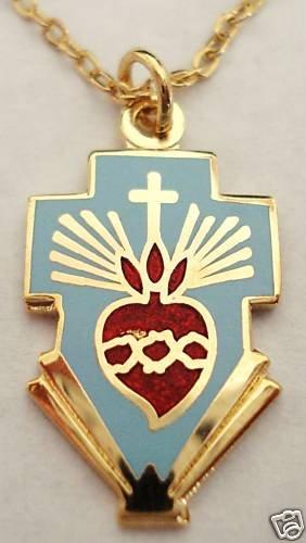 SACRED HEART of JESUS Cross nun priest Catholic PENDANT