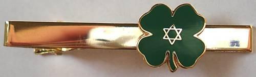 JEWISH LUCKY CLOVER Star of David Isreal Irish TIE BAR