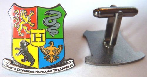 HOGWARTS Coat of Arms Crest Harry Potter Cuff Link Set