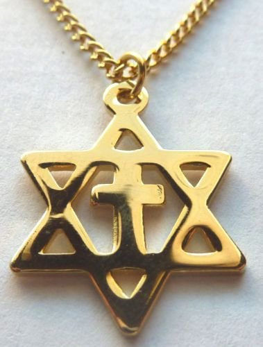 MESSIANIC CROSS Christians for Israel Gold PENDANT