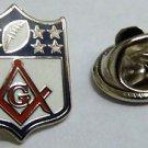 Masonic Football NFL York Scottish Rite Compass Freemason Tie Tack Hat Lapel Pin