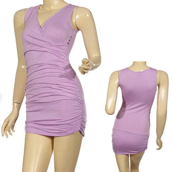 Sleeveless v-neck fitted mini dress w/gathered sides