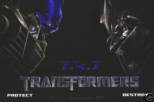 Transformers Vinyl Backing Original  Movie Poster 24 X36