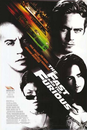 Fast and the Furious Original Movie Poster Double Sided 27x40