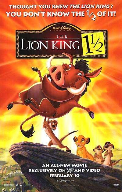 Lion King 1 1/2 Original Movie Poster Single Sided 24 x36