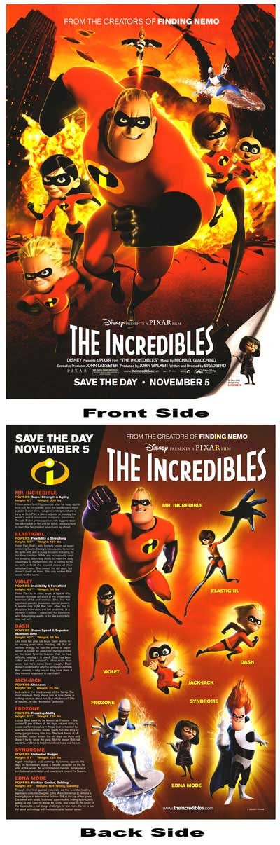 Incredibles  Original Movie Poster Double Sided 18X24