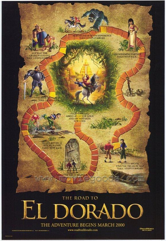 ROAD TO EL DORADO MAP  Movie Poster  27X40 DOUBLE SIDED ORIGINAL
