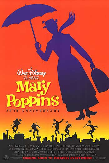 Mary Poppins 10th Anniversary Original Movie Poster Single Sided 27 X40
