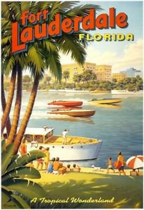 Vintage Fort Lauderdale Florida Travel Advertisement poster 13x19 inches