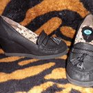 EUC! Paris Blues Black Suede Oxford Platform Wedges SuPer CUte sz8