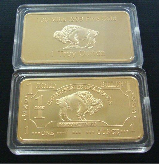 New 100 Mills Gold Buffalo Bar 1 Troy Oz Mint Copy