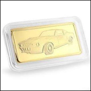 Collectors 24K Gold Clad 100 Mills Five Gram Shelby Corvette Bullion Bar
