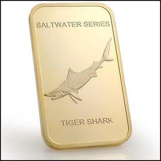 Collectors 24K Gold Clad 100 Mills One Ounce Tiger Shark Bullion Bar