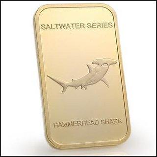 Collectors 24K Gold Clad 100 Mills One Ounce Hammerhead Shark Bullion Bar