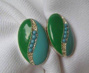 Vintage 1950s Blue & Green w/ Blue Beads Earrings