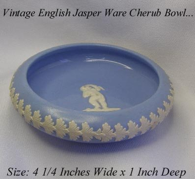 VINTAGE MADE IN ENGLAND CHERUB BLUE JASPERWARE BOWL