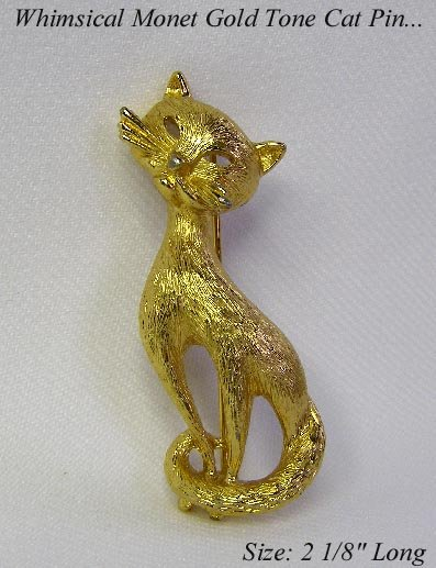 DARLING VINTAGE TEXTURED GOLD TONE CAT PIN BROOCH