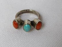 Old Navajo Sterling Silver Turquoise & Coral Ring Sz 4