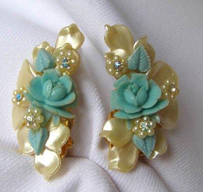 LARGE 1950s Plastic Flowers & AB Rhinestone Earrings