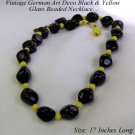 OLD ART DECO GERMAN GLASS BEADED NECKLACE BLACK YELLOW