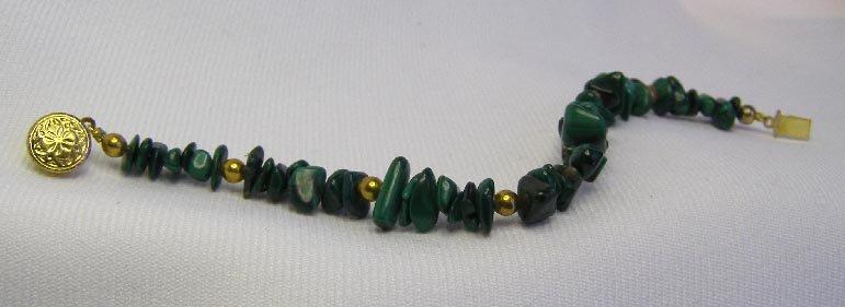 Polished Green Malachite Stone & Brass Bead Bracelet