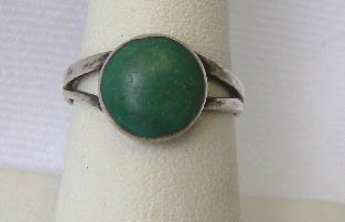 Southwest Sterling Silver Green Turquoise Ring S 6 3/4