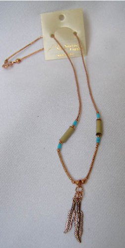 Southwestern Solid Copper Feather Turquoise  Necklace
