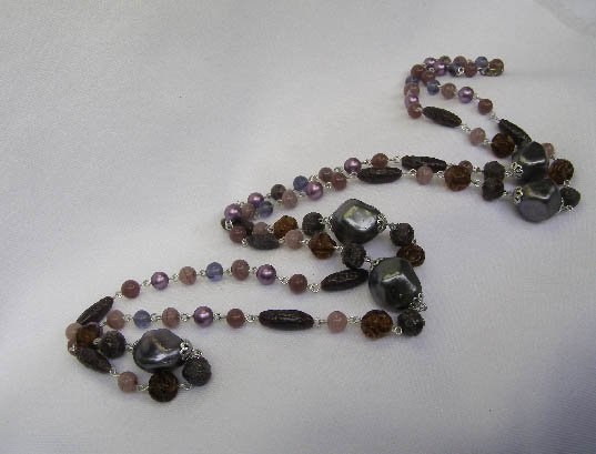 Vintage Purple Flapper Length Bead Necklace 52 Inches