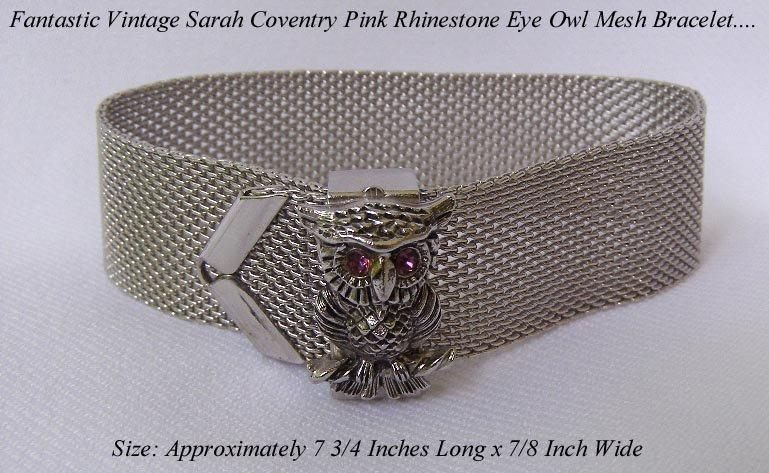 SARAH COVENTRY PINK RHINESTONE SILVER MESH OWL BRACELET