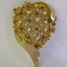 VINTAGE RED RHINESTONE & PEARL HOLLYWOOD HEART PIN