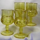 4 Vintage Yellow Kings Crown  Pattern  Footed Goblets