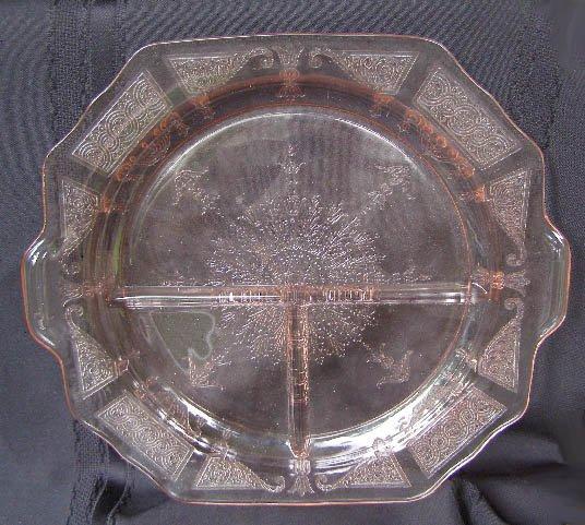 "Vintage Princess Pink Depression Grill  Plate 10 1/2"""