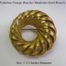 VINTAGE BOUCHER GOLD MODERNIST OPEN WORK CIRCLE PIN