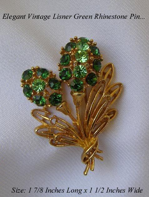 FAB VINTAGE LISNER EMERALD GREEN RHINESTONE FLOWER PIN