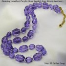 CHUNKY JOAN RIVERS PURPLE AMETHYST GLASS BEAD NECKLACE