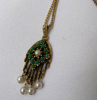 Vintage Sarah Coventry 1920s Style Pendant w/ Beads