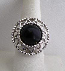 Vintage Sarah Coventry Black Center Filigree Ring