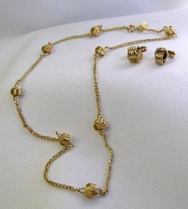 Avon Goldtone Stylized Knot Earrrings & Necklace Set