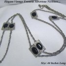 FAB EMMONS SILVER FILIGREE BLACK PANEL & CHAIN NECKLACE