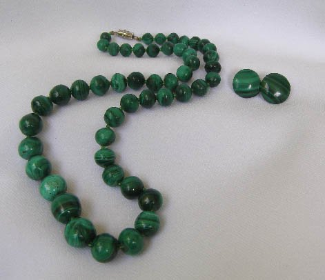 Vintage Malachite Stone Bead Necklace & Earrings
