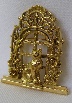 Vintage Cat in A Window Brooch Pin