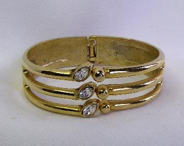Vintage Wide Gold Crystal Rhinestone Clamper Bracelet